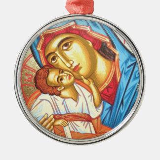 イエス・キリストビザンチンの宗教アイコン金ゴールドのマドンナ メタルオーナメント