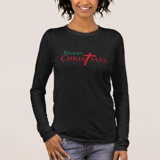 イエス・キリストワイシャツの十字とのメリークリスマス 長袖Tシャツ