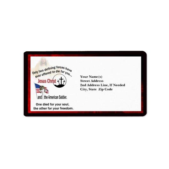 イエス・キリスト及びアメリカの兵士のカスタムな住所 宛名ラベル