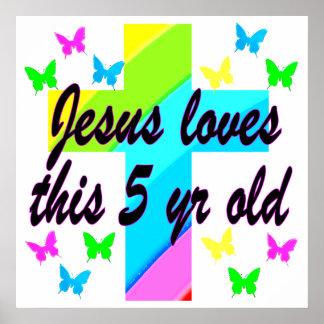 イエス・キリスト愛この5歳のクリスチャンの第5誕生日 ポスター