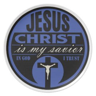 イエス・キリスト私の救助者はです(青い) プレート