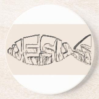 イエス・キリスト|魚|砂岩|コースター ビバレッジコースター