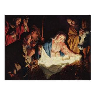 イエス・キリスト- Gerard van Honthorstの出生 ポストカード