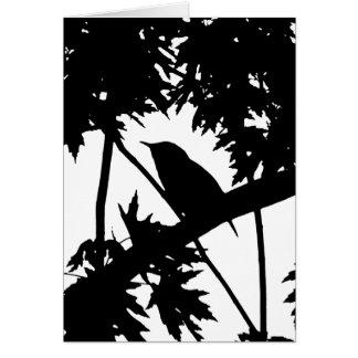 イエミソサザイのシルエット愛野鳥観察 カード