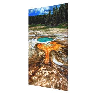 イエローストーンの上昇温暖気流のプール キャンバスプリント