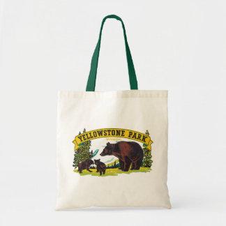イエローストーン国立公園のヴィンテージのヒグマ トートバッグ