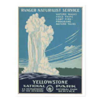 イエローストーン国立公園のヴィンテージの郵便はがき ポストカード
