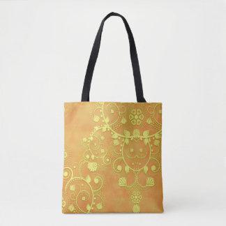 イエロー・ゴールドのオレンジの空想の花柄のダマスク織 トートバッグ