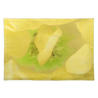 イエロー・ゴールドの花柄の果汁 ランチョンマット