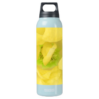 イエロー・ゴールドの花柄の果汁 断熱ウォーターボトル