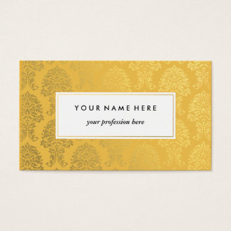 イエロー・ゴールドパターン名刺の金ゴールドのダマスク織 名刺