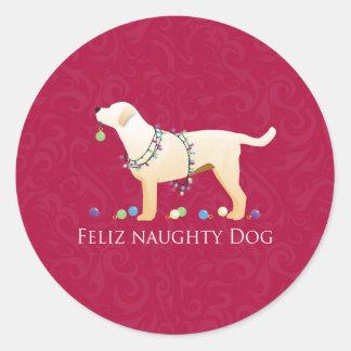 イエロー・ラブラドール・レトリーバーのクリスマスのFelizのいけない犬 ラウンドシール