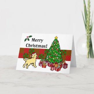 イエロー・ラブラドール・レトリーバーの子犬およびクリスマスツリー グリーティングカード