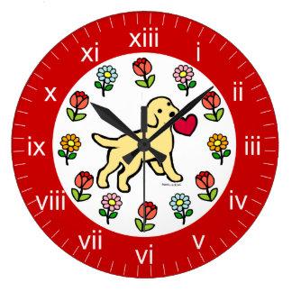 イエロー・ラブラドール・レトリーバーの子犬のハートの漫画 ラージ壁時計
