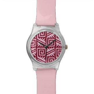イカットのアステカなパターン-バーガンディおよびピンク 腕時計