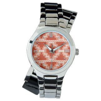 イカットのアステカなパターン-錆、オレンジおよび白 腕時計