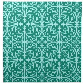 イカットのダマスク織パターン-ターコイズおよび水 ナプキンクロス