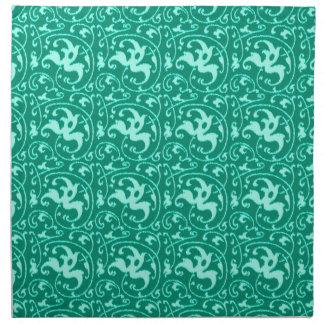 イカットの花のダマスク織-ターコイズおよび水 ナプキンクロス