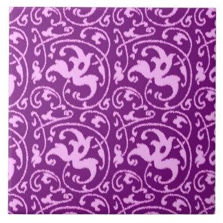 イカットの花のダマスク織-蘭および紫色 タイル