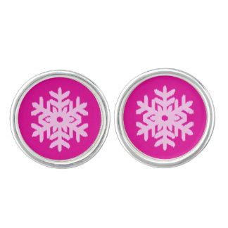 イカットの雪片-明るい赤紫色および氷のピンク カフスリンク