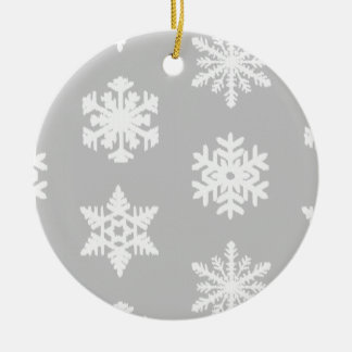 イカットの雪片-銀製の灰色および白 セラミックオーナメント