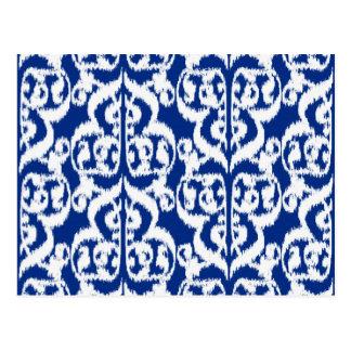 イカットのMoorishのダマスク織-コバルトブルーおよび白 ポストカード