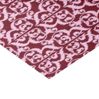 イカットのMoorishのダマスク織-バーガンディおよびピンク 薄葉紙