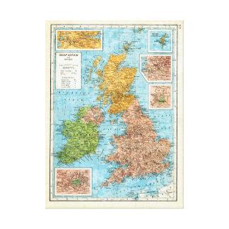 イギリスおよびアイルランドのヴィンテージの地図 キャンバスプリント