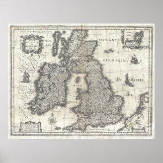 イギリスおよびアイルランド(1631年)のヴィンテージの地図 ポスター