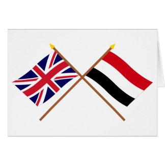 イギリスおよびイエメンによって交差させる旗 カード