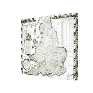 イギリスおよびウェールズ1644年の地図 キャンバスプリント