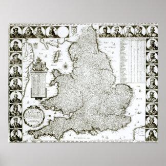 イギリスおよびウェールズ1644年の地図 ポスター