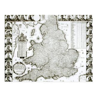 イギリスおよびウェールズ1644年の地図 ポストカード