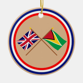 イギリスおよびガイアナによって交差させる旗 セラミックオーナメント