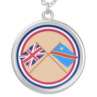 イギリスおよびコンゴの民主共和国の交差させた旗 シルバープレートネックレス