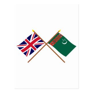 イギリスおよびタキマンニスタンによって交差させる旗 ポストカード