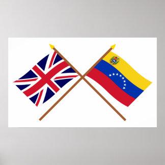 イギリスおよびベネズエラによって交差させる旗 ポスター