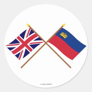 イギリスおよびリヒテンシュタインによって交差させる旗 ラウンドシール