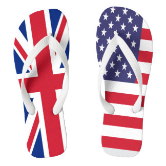 イギリスおよび一緒の米国の旗 ビーチサンダル