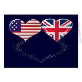 イギリスおよび米国のハートの旗およびティッカーテープ カード