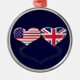 イギリスおよび米国のハートの旗およびティッカーテープ メタルオーナメント