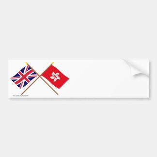イギリスおよび香港によって交差させる旗 バンパーステッカー