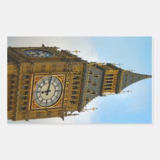 イギリスのまわり、ビッグベンの時計台、ウエストミンスター 長方形シール