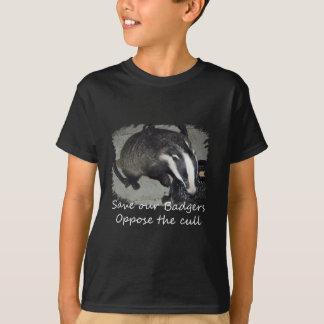 イギリスのアナグマを救って下さい、アナグマの傷ものに反対して下さい Tシャツ