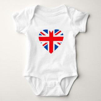 イギリスのイギリスの旗のハートイギリス ベビーボディスーツ