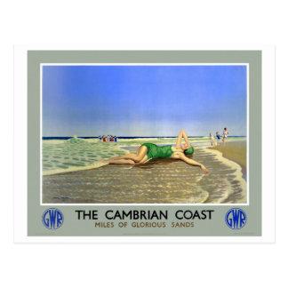 イギリスのカンブリアの海岸のヴィンテージ旅行ポスター ポストカード
