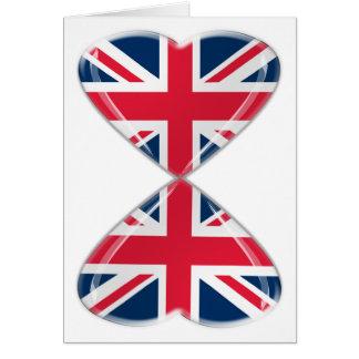 イギリスのハートの旗の接吻 カード
