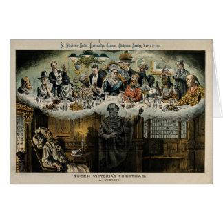 イギリスのビクトリアScroogeの女王のクリスマス夕食 グリーティングカード