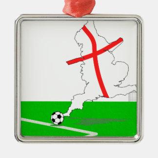 イギリスのフットボール・チームの白の背景 メタルオーナメント