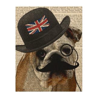 イギリスのブルドッグおよび山高帽 ウッドウォールアート